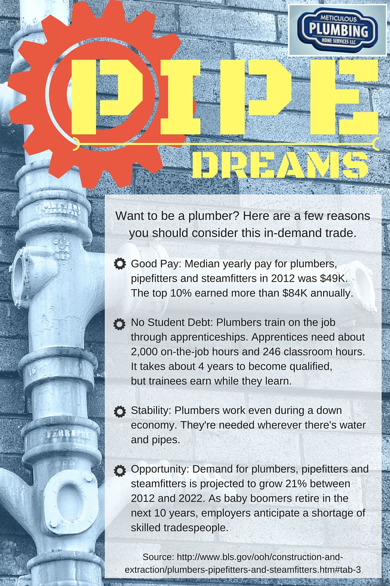 Infographic showing benefits of working in the plumbing trade.