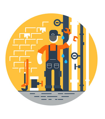 In this illustration a plumber maintains basement plumbing by working on pipes.